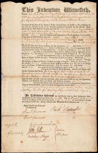 Document of indenture: Servant: Melvin, James. Master: Carpenter, Richard. Town of Master: Boston