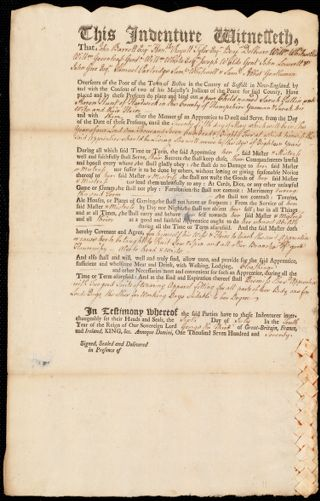 Document of indenture: Servant: Pattin, Sarah. Master: Hunt, Aaron. Town of Master: Hardwick