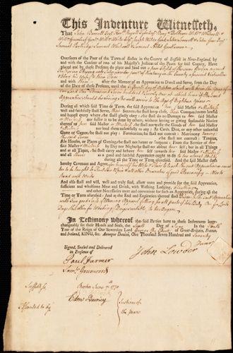 Document of indenture: Servant: Thwing, Katherine. Master: Lowder, John Jr. Town of Master: Roxbury