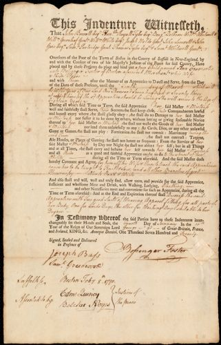 Document of indenture: Servant: Cromartie, Ann. Master: Foster, Bossenger. Town of Master: Boston