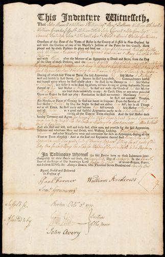 Document of indenture: Servant: Butler, Richard. Master: Andrews, William. Town of Master: Boston