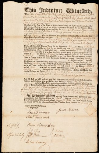 Document of indenture: Servant: Akley, Thomas. Master: Haven, Jason. Town of Master: Dedham