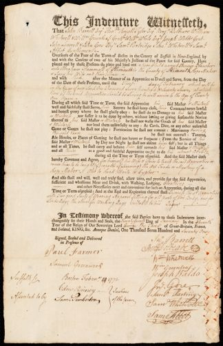 Document of indenture: Servant: Blancher, Ebenezer. Master: Hammatt, Abraham. Town of Master: Plymouth