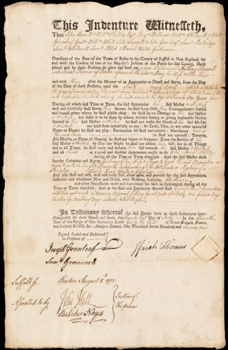 Document of indenture: Servant: Haswell, Anthony. Master: Thomas, Isaiah. Town of Master: Boston