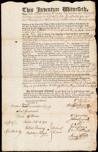 Document of indenture: Servant: White, Hannah. Master: Edes, Jacob. Town of Master: Boston
