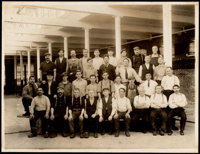 Group of sulphur bleach hands in dyehouse