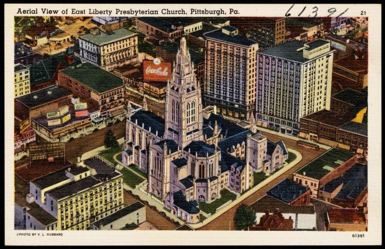 Aerial view of East Liberty Presbyterian Church, Pittsburgh, Pa.