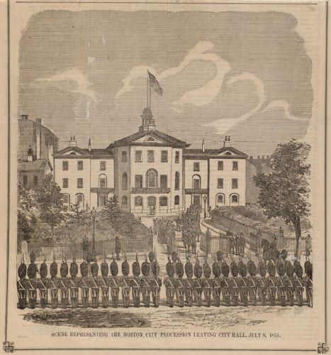 Scene representing the Boston city procession leaving City Hall, July 8, 1851