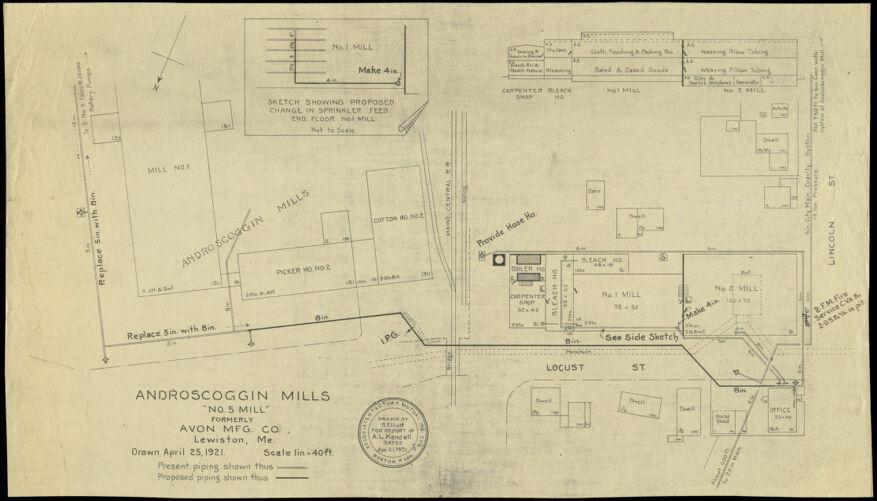 "Androscoggin Mills ""No. 5 Mill"" formerly Avon Mfg. Co., Lewiston, Me. [insurance map]"