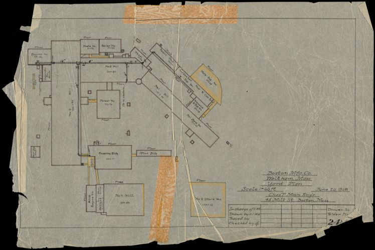 Boston Mfg. Co., Waltham, Mass. Yard Plan [insurance map]