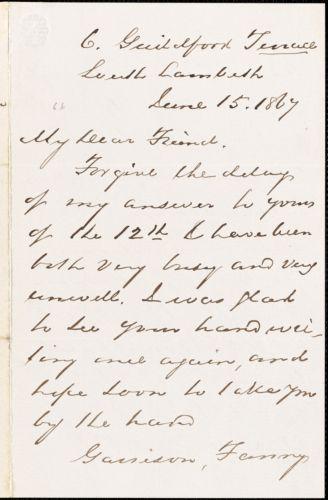 Letter from Egeorge Thompson, South Lambeth, [London, England], to Richard Davis Webb, 1867 June 15
