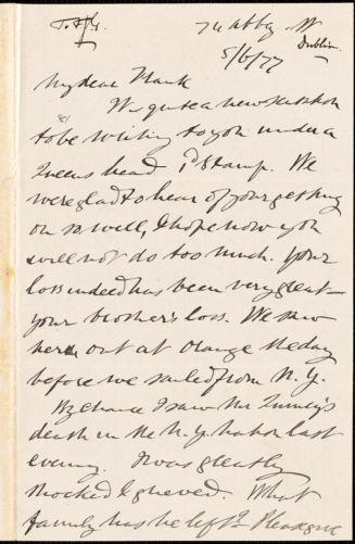 Letter from Alfred Webb, Dublin, [Ireland], to Francis Jackson Garrison, [18]77 [June 5]