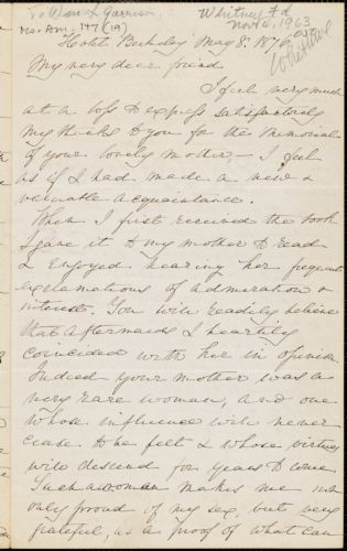 Letter from E.H. Whitwell, [Boston, Massachusetts], to Francis Jackson Garrison, 1876 May 8