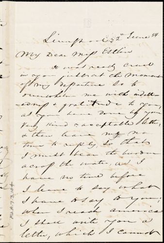 Letter from Charles F. Hovey, Liverpool, [England], to Mary Anne Estlin, 1854 June 2