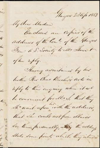 Letter from Andrew Paton, Glasgow, [Scotland], to Mary Anne Estlin, 1853 April 23