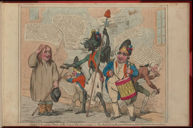 Alecto and her train at the gate of Pandoemonium - or - the recruiting sarjeant enlisting John Bull into the revolution service