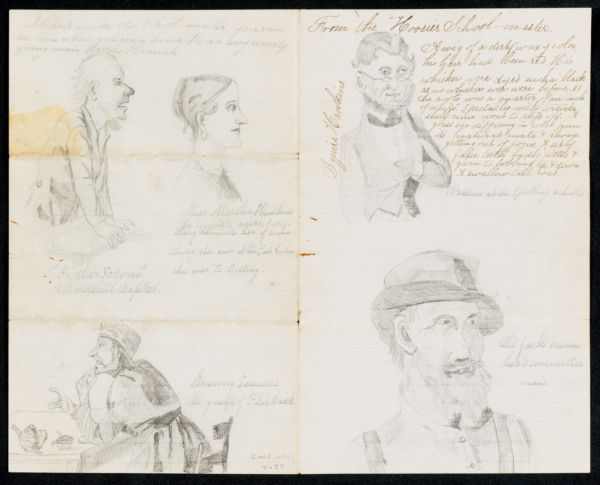 Letter insert, pencil sketches of characters from Hoosier Schoolmaster