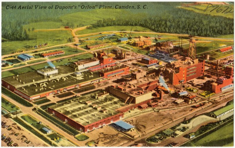 """Aerial view of Dupont's """"Orlon"""" Plant, Camden, S. C."""