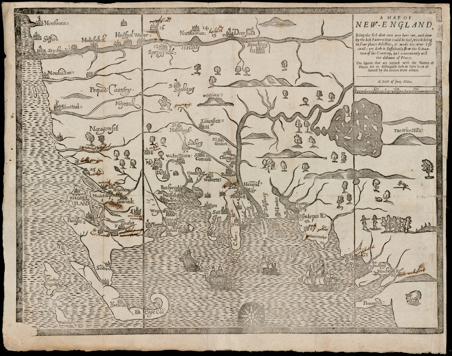 """John Foster's 1677 """"A map of New-England: being the first that ever was here cut…"""" This map was used to illustrate a book detailing King Philip's War."""