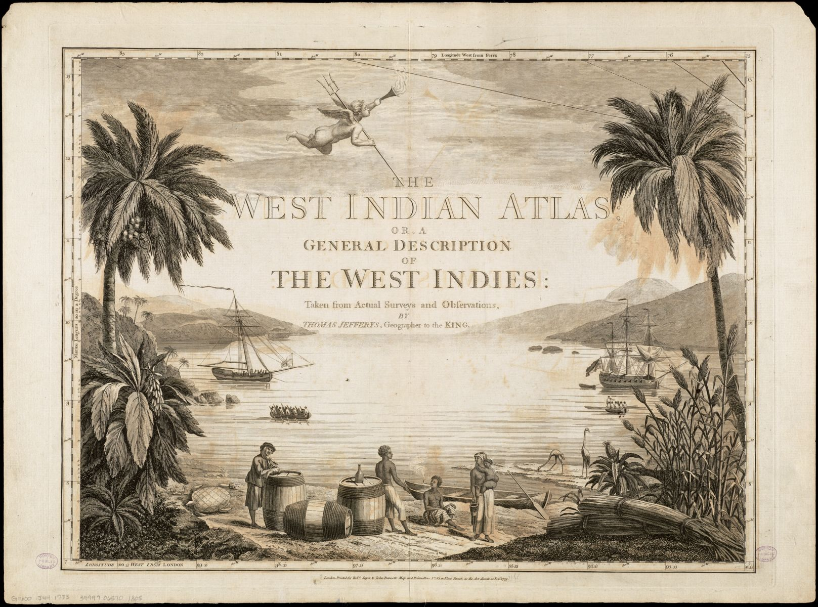 This frontispiece from an atlas of the Caribbean shows enslaved Black people standing among barrels that likely contain molasses or rum, and a bundle of sugarcane off to the right. All the subjects of the engraving were imports or exports in the triangular trade. This includes the people, who were trafficked against their will.