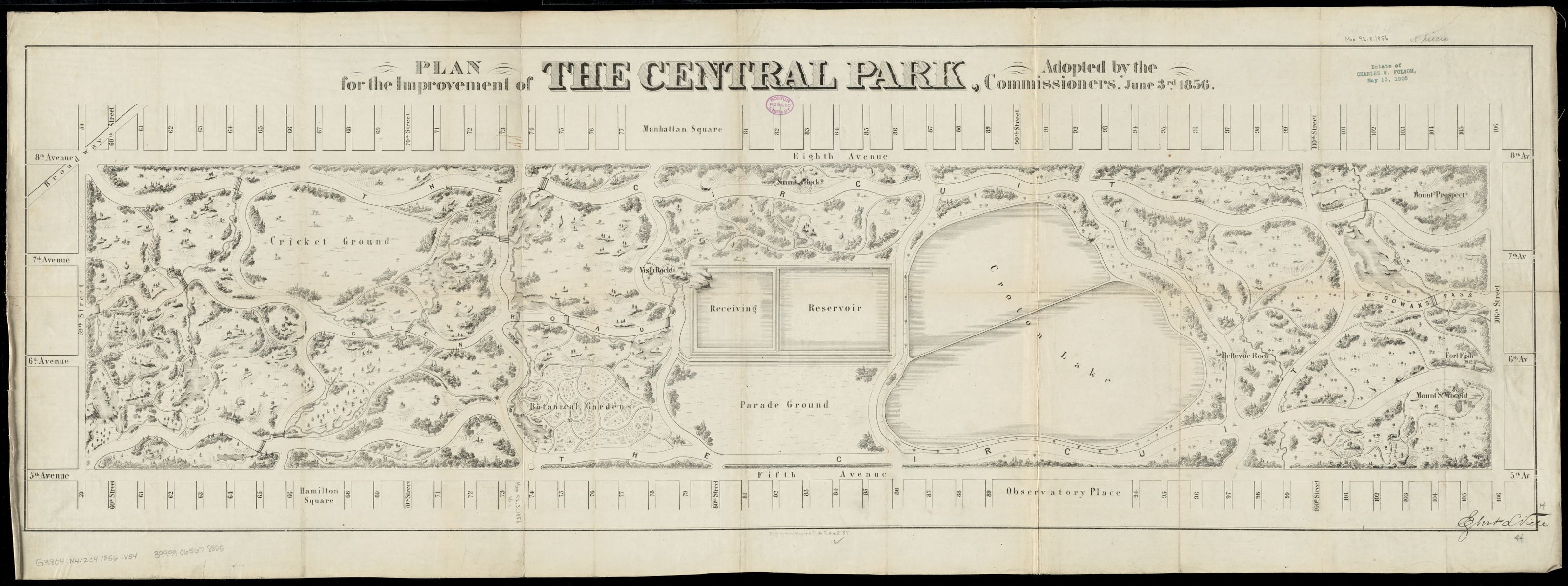 Egbert Ludovicus Viele. Plan for the improvement of the Central Park, adopted by the Commissioners, June 3rd, 1856. 1856.