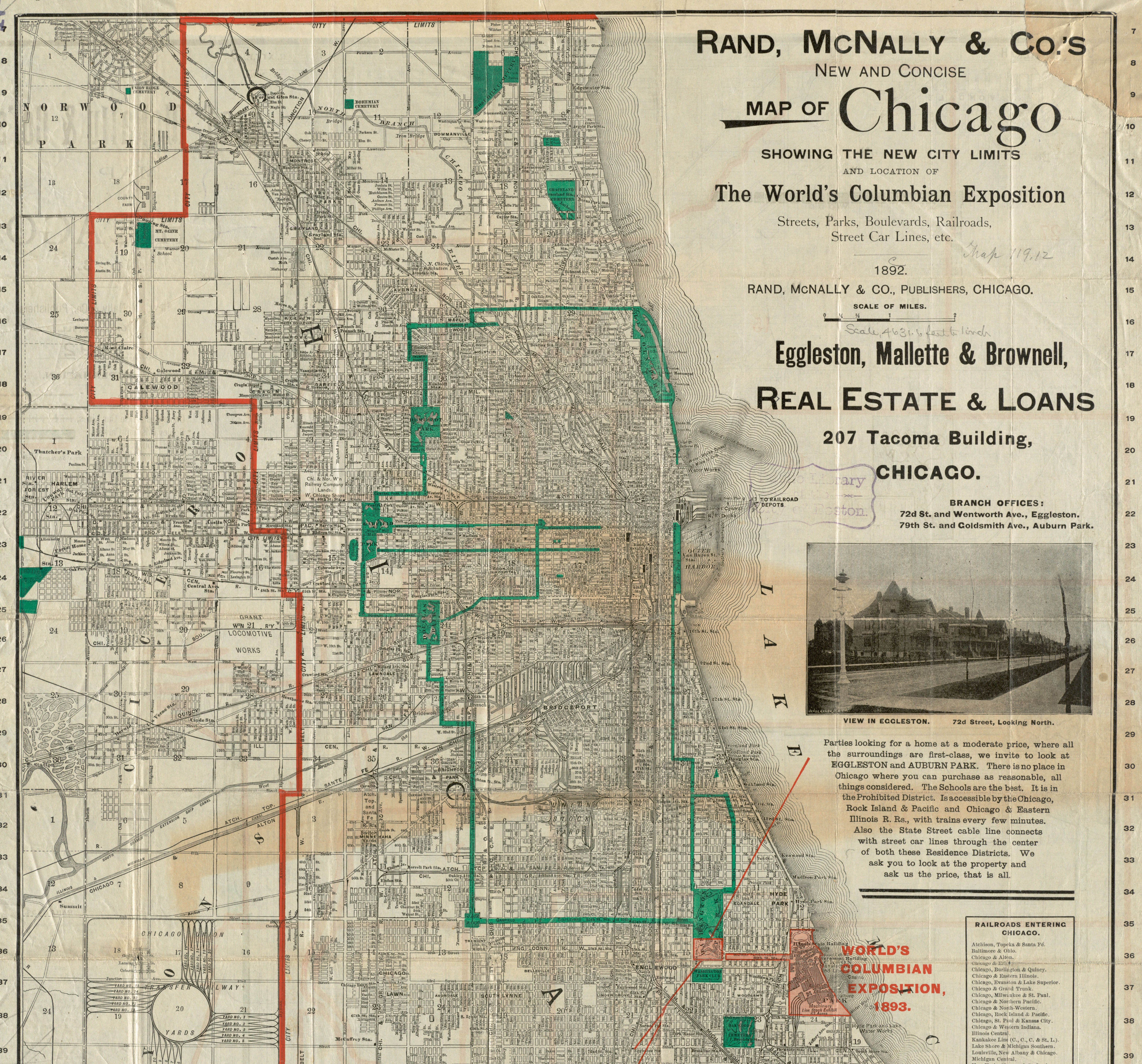 An 1892 Chicago map from Rand, McNally & Co. showing the site of the World's Colombian Exposition (also known as the World's Fair)