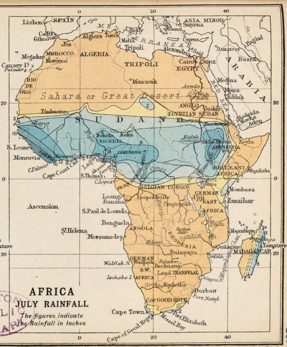 John George Bartholomew, E.P. Dutton, and J.M. Dent & Sons, Africa January rainfall – Africa July rainfall (1913)