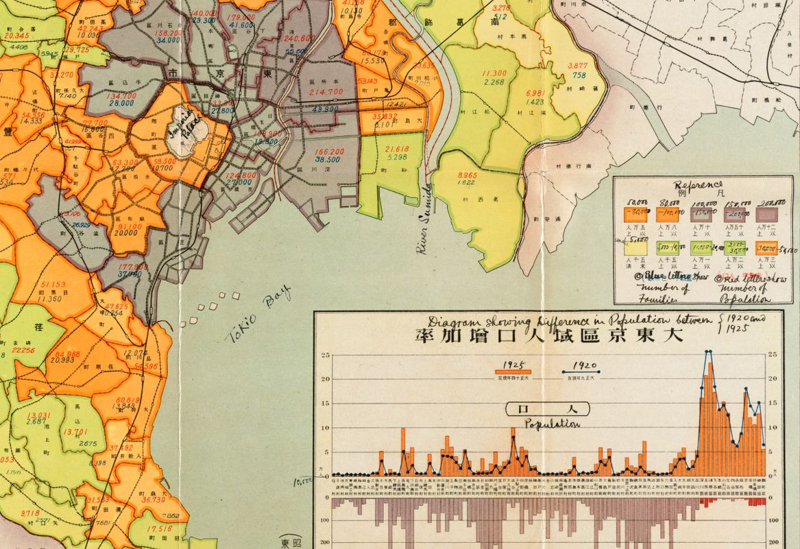 This 1926 map of Tokyo shows how statistics and demographic information can be portrayed in a cartographic representation.