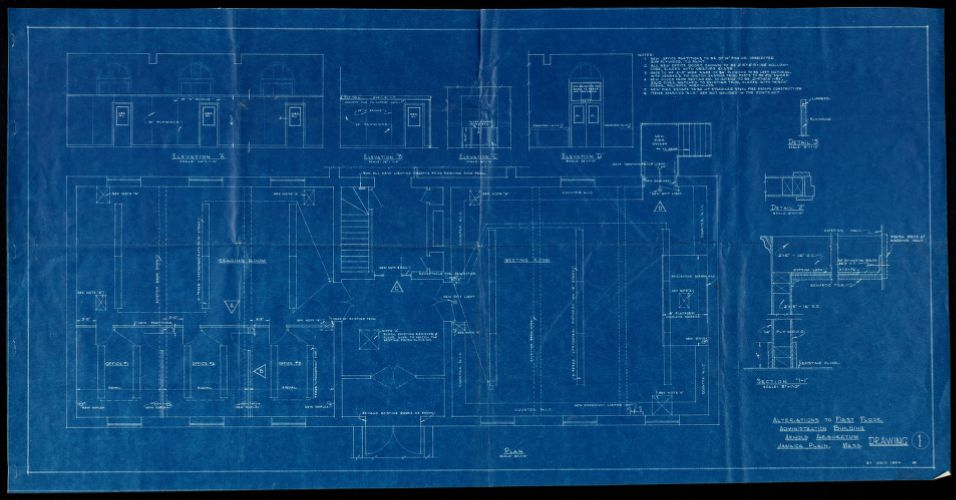 Alterations to first floor administration building, Arnold Arboretum, Jamaica Plain, Mass. ; Arnold Arboretum- Adm. Bldg. proposed heating alts.