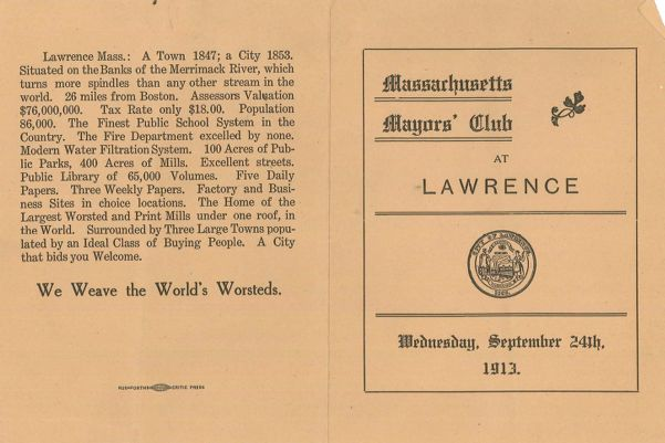 Massachusetts Mayors' Club at Lawrence, Wednesday, September 24th, 1913