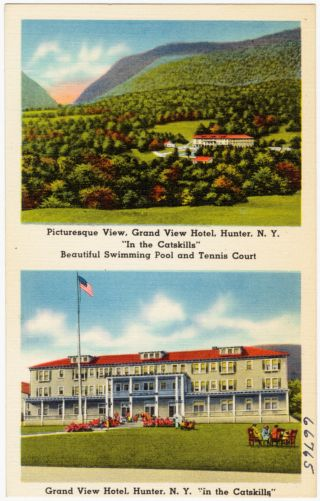 """Picturesque view, Grand View Hotel, Hunter, N. Y. """"In the Catskills."""" Beautiful swimming pool and tennis court. Grand View Hotel, Hunter, N. Y. """"in the Catskills"""""""