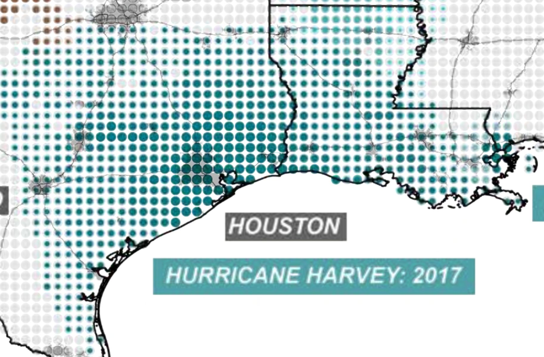 An excerpt from the 2100 Project atlas shows natural disasters that have been made worse by climate change, exacerbating the injustices already borne by people in poverty and communities of color