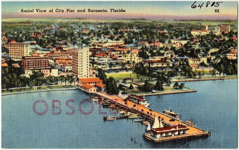 Aerial view of city pier and Sarasota, Florida