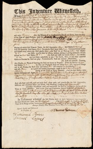 Document of indenture: Servant: White, Elisabeth. Master: Gleeson, Thomas. Town of Master: Oxford