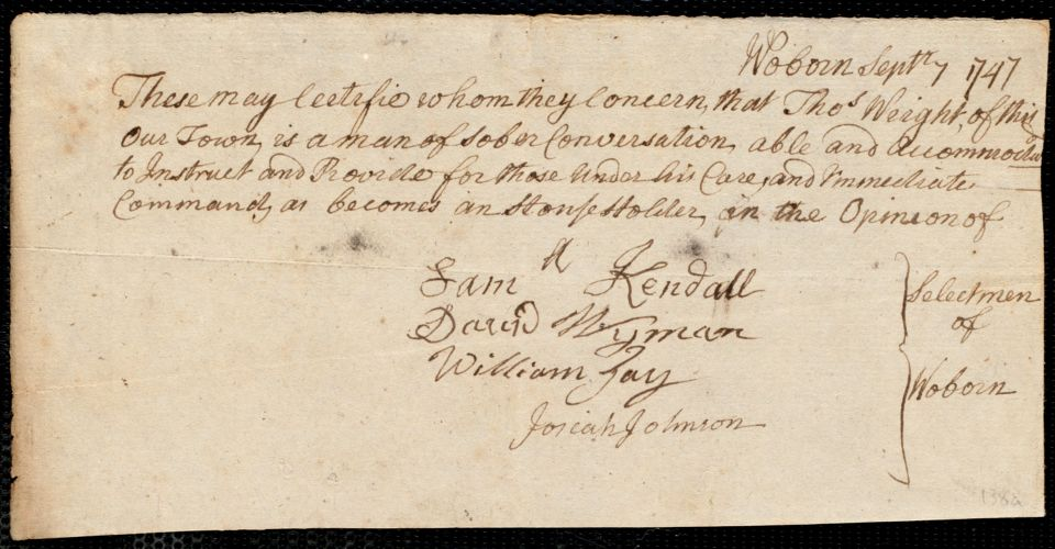 Document of indenture: Servant: Haden, Richard. Master: Wright, Thomas. Town of Master: Woburn. Selectmen of the town of Woburn autograph document signed To Whom It May Concern: Endorsement Certificate for Thomas Wright.