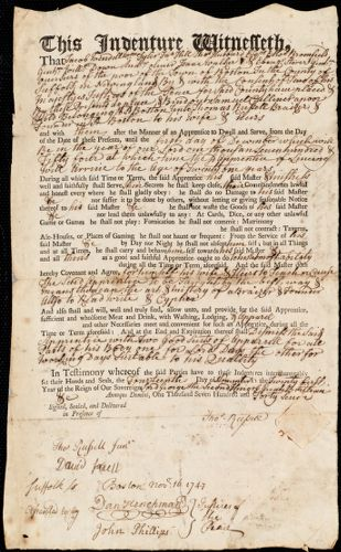 Document of indenture: Servant: Culliner [Cuilner], Samuel. Master: Russell, Thomas. Town of Master: Boston