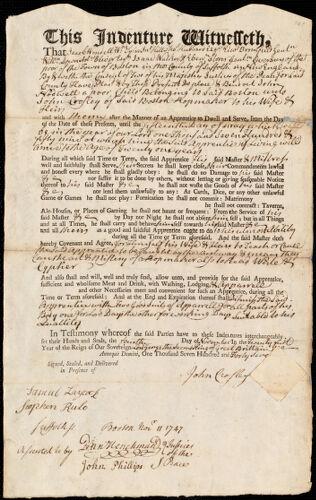 Document of indenture: Servant: Hadwell, John. Master: Crosley, John. Town of Master: Boston