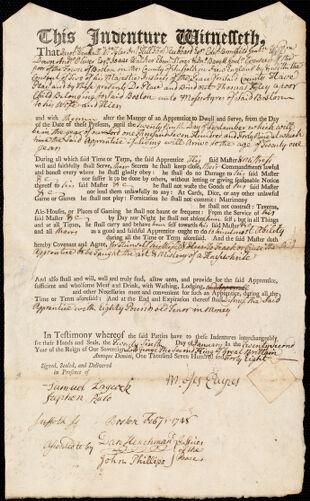 Document of indenture: Servant: Foley, Thomas. Master: Ayres, Moses. Town of Master: Boston