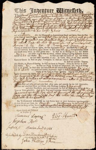 Document of indenture: Servant: Field [Feild], Jeremiah. Master: Hunt, Alexander. Town of Master: Boston