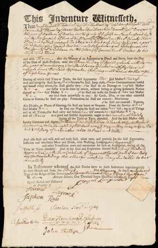 Document of indenture: Servant: Johnson, Jane. Master: Langrel, Joseph. Town of Master: Wardham