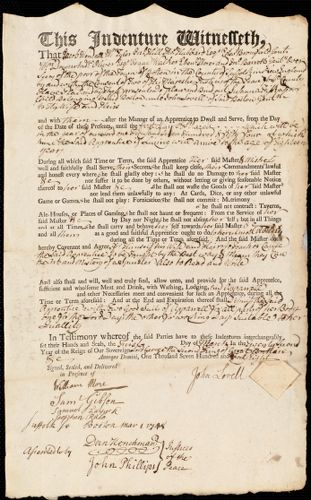 Document of indenture: Servant: Fisk, Susanna. Master: Lovell, John. Town of Master: Boston