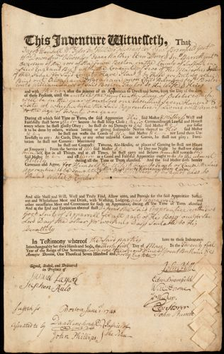 Document of indenture: Servant: Ingraham, Abraham. Master: Daws, William. Town of Master: Boston