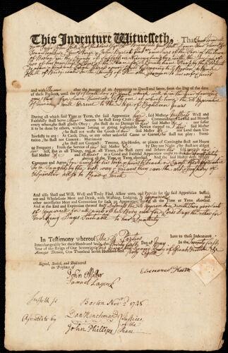 Document of indenture: Servant: Hariss, Sarah. Master: Keith, Ebenezer. Town of Master: Bridgewater
