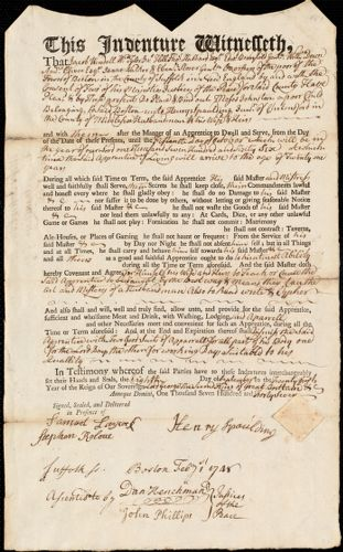 Document of indenture: Servant: Johnston, Moses. Master: Spaulding, Henry Jr. Town of Master: Chelmsford
