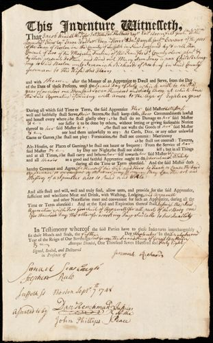 Document of indenture: Servant: Jones, Mary Ann. Master: Richards, Jeremiah. Town of Master: Roxbury
