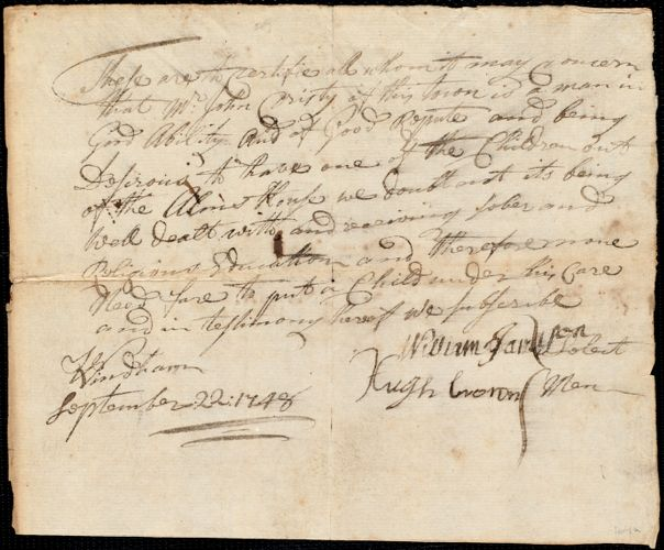 Document of indenture: Servant: Woods, William. Master: Cristy, John. Town of Master: Wenham. Selectmen of the town of Wenham autograph document signed to Whom It May Concern: Endorsement Certificate for John Cristy