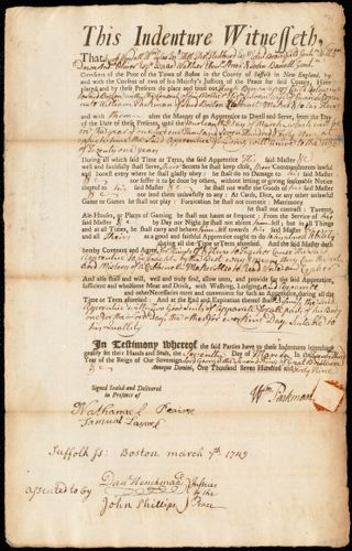 Document of indenture: Servant: Brown, Hugh. Master: Parkman, William. Town of Master: Boston
