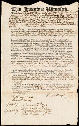 Document of indenture: Servant: Vanliber [Vaniber], Veronica. Master: Barrett, Isaiah. Town of Master: Boston
