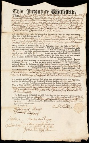 Document of indenture: Servant: Bedson, John. Master: Smallidge [Smalledge], Samuel. Town of Master: Boston