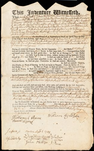 Document of indenture: Servant: Field, Jeremiah. Master: Richardson, William. Town of Master: Lancaster
